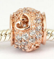 SOLID 9CT ROSE GOLD Elegant CZ LOVE HEART BEAD with 35pcs Cz For Charm Bracelet