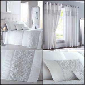 White SHIMMER Sequin Diamante Sparkle Glamour Duvet Cover Set Bedding Range