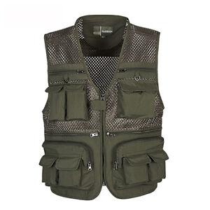 Mens Outdoor Hunting Hiking Multi-Pocket Fishing Vests Photography Waistcoat Top