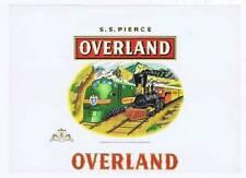 Overland, inner cigar box label, train, Boston MA