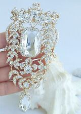 "Noble 4.53"" Bridal Teardrop Brooch Pin Pendant Clear Rhinestone Crystal 04910C6"