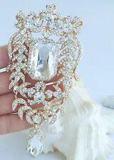 "Pendant Clear Rhinestone Crystal 04910C6 Noble 4.53"" Bridal Teardrop Brooch Pin"