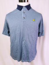 Masters Clubhouse Collection Men's Golf Polo Shirt Large Blue Check Italy EUC