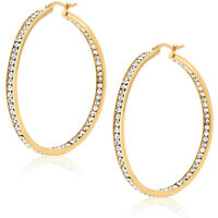 "3""  Inside Out Pave Diamonique CZ Hoop Earrings 14K Yellow Gold Clad Silver"