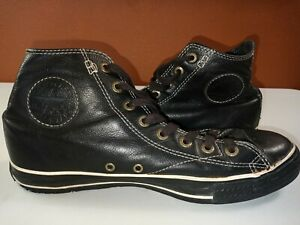 CONVERSE ALL STAR Black Leather High Tops: Mens Size 9.5 & Womens Size 11.5 READ