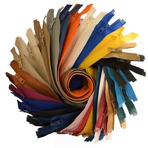 """Nylon Closed End Zip 3 Sizes & 40 Colours No.5 From 7.1"""" to 9.8"""" LISTING 3/3"""