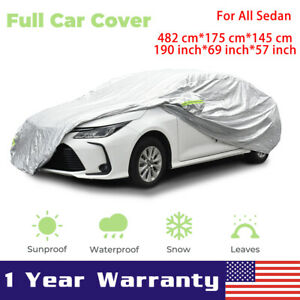 Car Cover Waterproof Sun Snow Dust Rain Resistant Protection For Sedans Silver