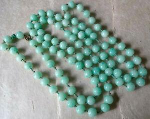 vintage art deco Peking green glass bead long flapper necklace -P131