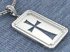 Cross Pendant  Gold Plated .925  Sterling Silver   Dog Tag Handmade and Unique