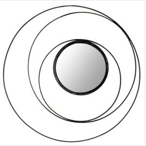 "Safavieh Haygarden Inner Accent Mirror Inner Circle Wall Mirror, Black 20"""