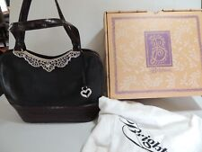 BRIGHTON ANNA ROSS BLACK & CHOCOLATE LEATHER PURSE W/ DUST BAG & BOX