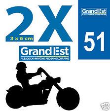 2 Stickers 51 autocollants style plaque immatriculation MOTO 51 REGION Grand Est