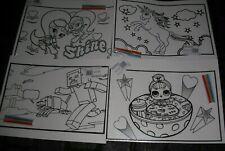 4 x Large Velvet Colouring Picture Boards & Felt Tip Pens Kids Art & Craft 50x38