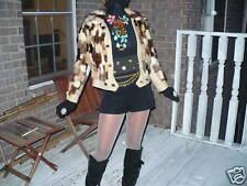 Unique Designer  white multicolor Mink Fur Coat Jacket  XS-S 0-2/4