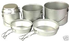 ARMY BILLY CANS Camp fire cooking stove pans set 6 piece tough camping pot set