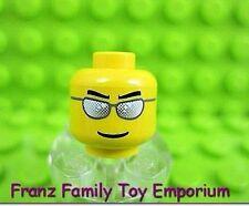 New LEGO Minifig HEAD Silver Glasses Sunglasses Police Fireman Male Body Part