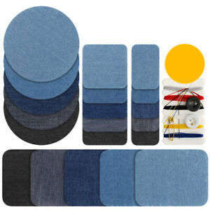 5/10Pcs Denim Patches Thermal Sticky Iron On Jeans Bag Clothes Repair DIY Sewing