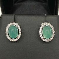 AAA Natural Green Jade Diamond Earrings Solid 925 Sterling Silver Women Jewelry