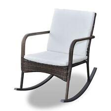 Outdoor Wicker Rattan Rocking Chair Patio Furniture Garden Poolside Seat Brown