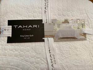 NEW TAHARI HOME king cotton quilt white 106x92 floral medallions NWT fresh solid