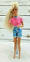 "MATTEL BARBIE Doll Long Blonde Hair Blue Eyes Bodysuit Outfit 12"" Tall Free Ship"