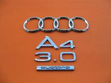 02 03 04 05 06 07 08 AUDI A4 3.0 QUATTRO REAR EMBLEM LOGO BADGE SIGN OEM SET #2