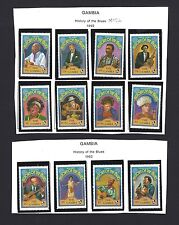 Gambia History of Blues Music 12v + 3 S/S MNH