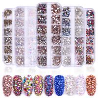 1440pcs Flat Back Nail Art Rhinestones Glitter Diamond 3D Tip Manicure Decor