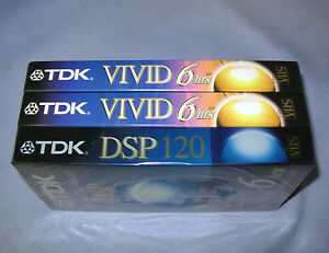 3 TDK 6 hrs VIVID and DSP VHS T-120 blank tapes Factory sealed videotapes