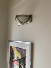 Wall Light, Half Moon, Brushed Chrome And Glass