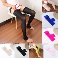 Mens Elastic Thigh-high Socks Slim Tight Footless Sports Tight Hosiery Stockings