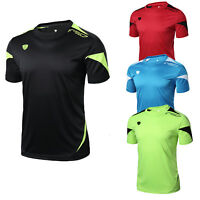 Men's Workout Casual Gym Running T-shirt Tight fit Solid color Lightweight Top