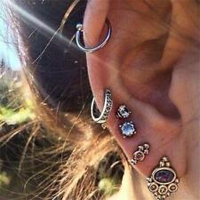 6PCs/Set Women Men Rhinestones Fashion Punk Earrings Jewelry Boho Accessories