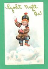 VINTAGE SWEDISH JENNY NYSTROM NEW YEAR POSTCARD HAPPY BOY SNOWBALLS!