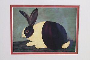 Warren Kimble Black & White Rabbit Print Signed & Framed Americana