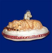DOG TIRED OLD WORLD CHRISTMAS BLOWN GLASS PUPPY DOG PET BED ORNAMENT NWT 12421