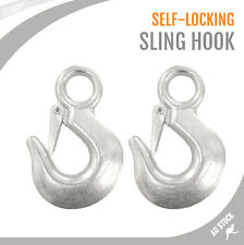 2x 2T Sling Hook Self Locking Eye Lifting Safety 105x65mm Hoist Lift Chain Hooks