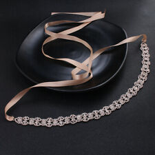 Handmade Rose Gold Crystal Bridal Sash Alloy Rhinestone Thin Wedding Dress Belt