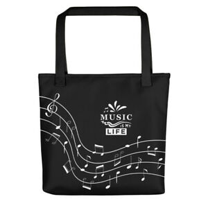 """Tote Bag Black Eco Durable Music Notes 15"""" X 15"""""""