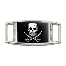 Pirate Skull Swords Tattoo Design Rectangular Shoe Shoelace Tag Gym Charm