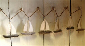 Driftwood Boat Garland Sailing Seaside
