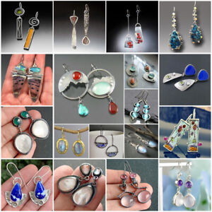Fashion Boho Drop Earrings Women 925 Silver Jewelry Cubic Zircon Gift A Pair/set
