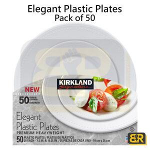 Kirkland Signature Elegant Plastic Plates Pack 50 Heavy Duty Disposable Plates