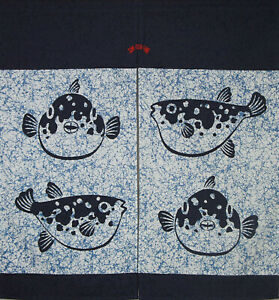 """Japanese Noren Curtain Home Business Tapestry Blue 35.5""""L x 33.5""""W Lucky Fugu"""