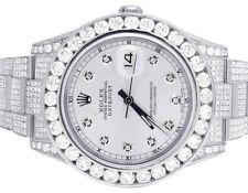 Mens Rolex Datejust II Full Iced 41MM 116300 Silver Dial Diamond Watch 21.5 Ct