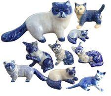 persian cat delft blue ceramic porcelain 1pc miniature other variation figurine