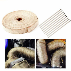 "4/5"" 50Ft Roll Fiberglass Exhaust Header Pipe Heat Wrap Tape Khaki +10 Ties Kit"