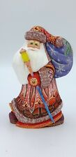 "7.4"" Wooden Carved Santa Claus Figurine Christmas Present Home decor"