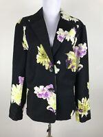 Coldwater Creek Blazer Size 12 Cotton Blend Floral Black Purple Career Work