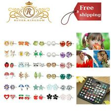 Stainless Steel Stud Earrings Cute Animals CZ Jewelry Kids Earrings 30 Pairs